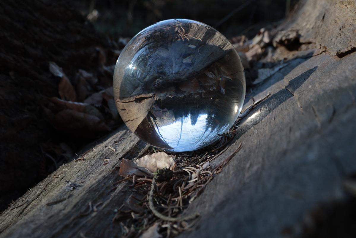 Lens Ball im Holz