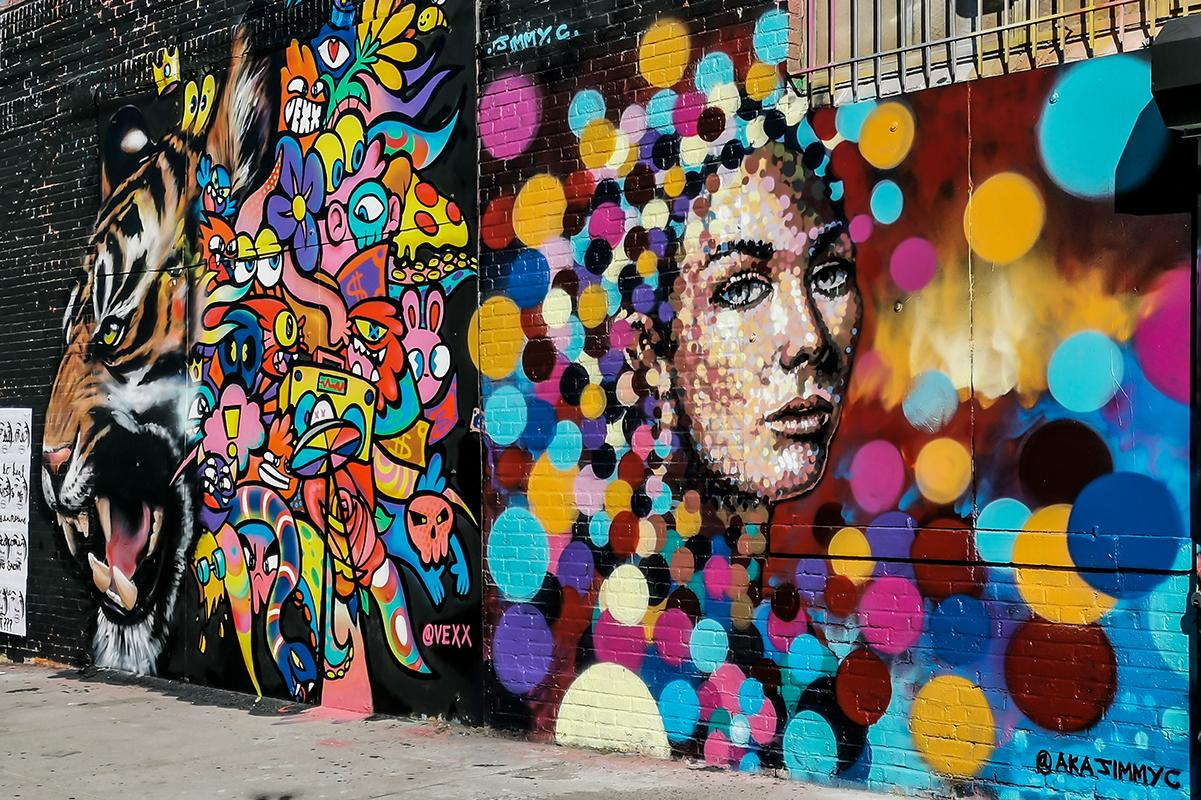 Bushwick Collective Mural Punkte Frau