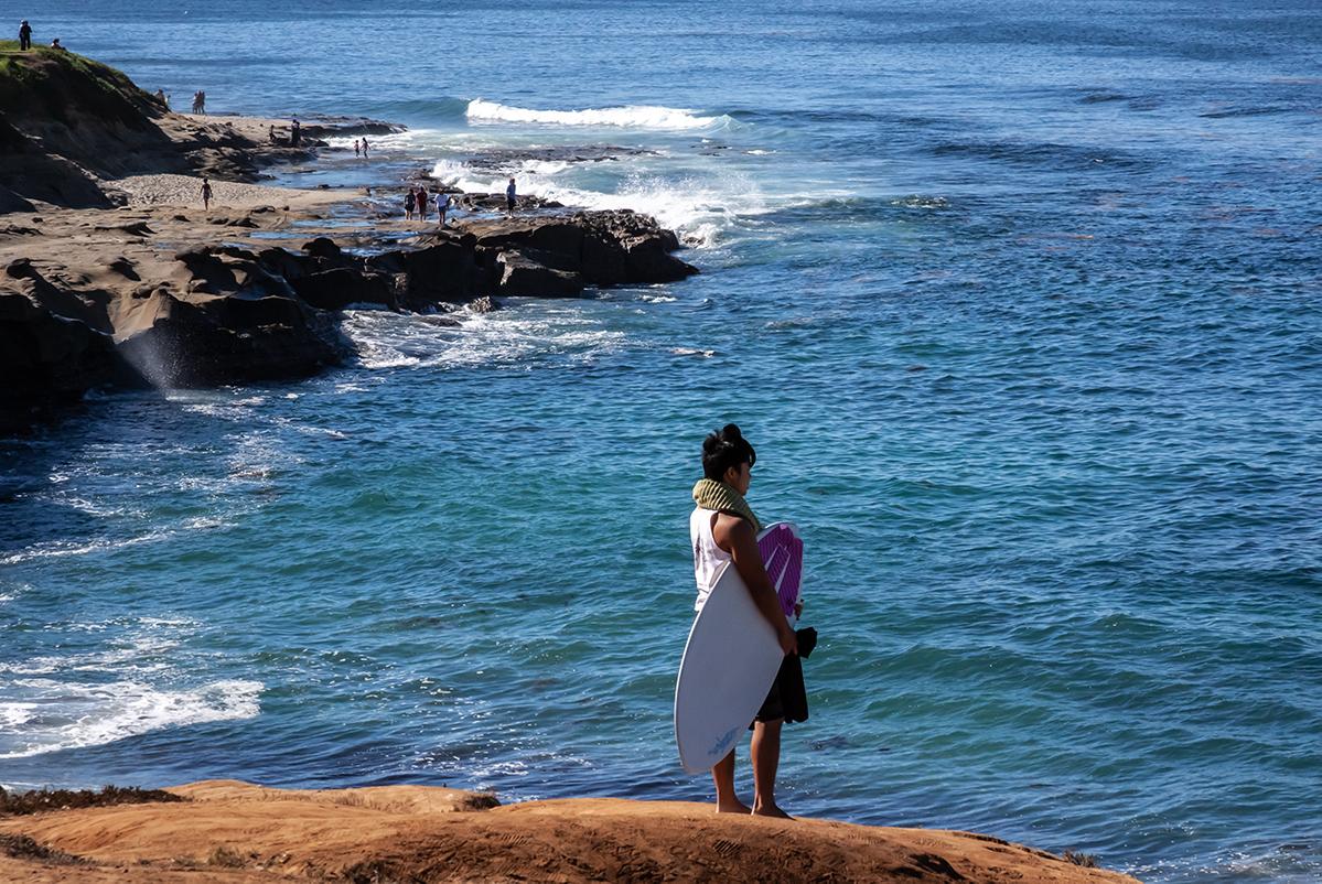 San Diego La Jolla Brandung mit Surfer
