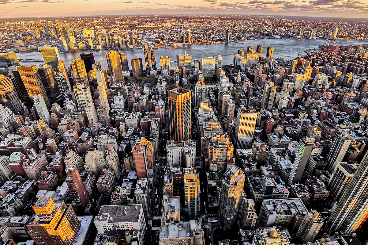 Manhattan Downtown zum Sonnenuntergang